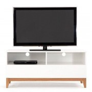 Meuble TV BLANCO, 120 x 48 x 55 cm, en chêne et bois peint blanc mat, 1 grand tiroir, 2 niches - Créé par Leonhard Pfeifer - déco et design