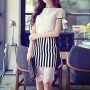 Mulheres Camisa Casual Simples / Moda de Rua Verão,Sólido Branco Poliéster / Elastano Decote Redondo Manga Curta