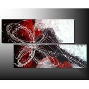 2 Quadri Arte Moderna Fiore Toni Rosso e Bianco