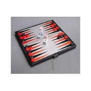 Összehajtható mágneses backgammon, műanyag, 13x13,5x1,1cm - 1720