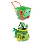 3 Item Bundle: Melissa & Doug 6266 Happy Giddy Kids Garden Cart, 6264 Tootle Turtle Gardening Tote Set + Coloring Activity Book