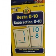 School Zone Bilingual Spanish English Subtraction (Resta) Facts 0-10 Flash Cards Grades 1-2