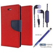 Wallet Flip Cover For Lenovo A5000 (Red) With 3.5mm TARANG Earphones with Mic + Stylus Touch Pen(Color May vary)