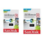 Sandisk Ultra 16GB Black Micro USB-Cnnector OTG Enabled Dual USB Flash Drive 3.0 With Sandisk 32GB Black Micro USB-Cnnector OTG Enabled Dual USB Flash Drive 3.0