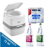 PACHET QUBE2G: Toaleta PORTA POTTI QUBE 365 + solutie dizolvare deseuri + solutie igienizare + hartie