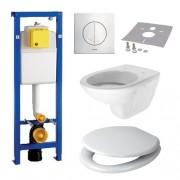 Toiletset Hangend 9918-1 Wisa XS Inbouwreservoir Glans Wit Wandcloset Softclose Toiletbril Argos Bedieningsplaat Wit