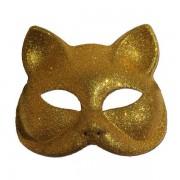 Glitter Cat Masquerade Mask In Gold