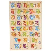 Skillofun Wooden Hindi Alphabet Tray with Picture with Knobs, Multi Color