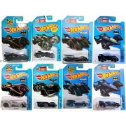 2015 Hot Wheels Batman 8-Car Complete Set Batmobile (black and chrome); Arkham Knight and Arkham Asylum; Brave and the Bold (Black and Blue); Batman Live! (Black and Blue) by Hot Wheels