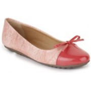 Vilax Shining Snake Patent Ballerinas With Bow Bellies(Pink, Beige)