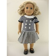 A Cute Navy And White Striped Summer Dress Made To Fit The 18 Inch Doll Like The American Girl Dolls Shoes Sold Separately