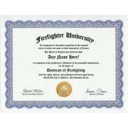 Firefighter Firefighting Degree: Custom Gag Diploma Doctorate Certificate (Funny Customized Joke Gift - Novelty Item)
