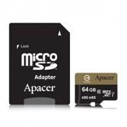 Micro SD Card, 64GB, Apacer MicroSDXC, UHS-I U3, Class10, 1xAdapter (AP64GMCSX10U4-R)