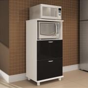 Balcão de Cozinha Forno e Micro Preto - Completa Móveis