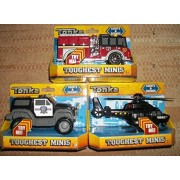(3) Tonka Toughest Minis with Sounds 7 Inch /Fire Engine/Swat Helicopter/Ridge Rescue