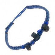 Karkötő királykék zsinórokból, kék hengerek, gyöngyök