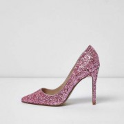 River Island Womens Pink glitter court shoes
