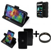 Top Set: Case 360° Cover Pour Smartphone Archos 50 Saphir, Noir + Protection De Anel | Fonction Stand Case Wallet Bookstyle Meilleur Prix, La Meilleure Performance - K-S-Trade (Tm)