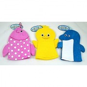 Set of 3 Terry Cloth Hand Puppet Wash Cloths / Bath Mits for Kids - Includes a Dolphin Fish and Baby Chick