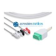 CABO PARA ECG 3 VIAS COMPATÍVEL GE / MARQUETTE® (NQA-E243) / Registro Anvisa 80787710012 - NQA-E243