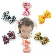 6 Pcs 3' Boutique Mix Color Leopard Hair Bows Girls Kids Children Alligator Clip Grosgrain Ribbon Clips 6 Colors