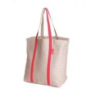 Miliboo Sac shopping lin naturel et rouge MILIBOO