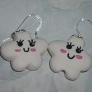 Kawaii Cloud Earrings White Fimo Charm Sterling