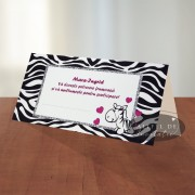 Place card botez Zebra