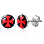 RVS oorbellen Maltese Cross 7mm