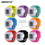 XBERSTAR Watchband wrist band Strap for Garmin Forerunner 10 15 Small / Large for Men Women GPS Running Watch Sport Silicone