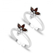 Sterling Silver Floral CZ Toe Ring By Taraash
