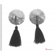 Copricapezzoli paillettes argento con nappa