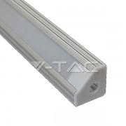 Perfil de alumínio canto 45º- frente fosca p/ fita LED
