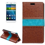 Color Matching Flip Leather Case with Holder & Card Slots & Wallet for Huawei Ascend G7(Brown)