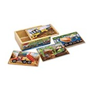 Melissa & Doug 4 Wooden Puzzles - Construction Vehicles