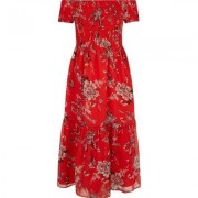 River Island Girls Red floral shirRed maxi dress