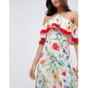 ASOS Cold Shoulder Midi Dress in Cultura Floral Print - Multi
