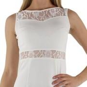 JOVILIA Dámské společenské šaty s krajkovým živůtkem bílé - M, bílá
