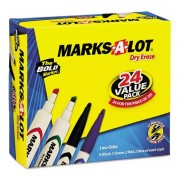 Desk/pen-Style Combo Dry Erase Marker, Chisel/bullet Tip, Assorted, 24/pack