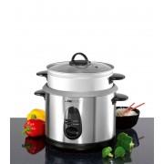 Clatronic RK 3309 - Arrocera de acero inoxidable, capacidad 3 litros para 2,5 kg arroz hervido, 700 W, color plateado