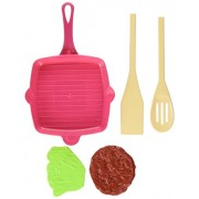 Little Treasures Childrens Cooking Breakfast Playset Includes A Grill Pan, Saut Pan, 3 Kind Of Ladles, And A Spice Bottle, Food Toys Consist Of Bacon, Beef Patty, Salad Leaf And Cooked Egg