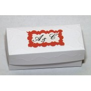 Cutiute marturii nunta botez, forma dreptunghi, nuante alb-rosu