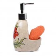 Dispenser ceramic cu mac rosu si burete portocaliu