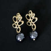 Semi Earring Jewelry Gold Plated with Black Pearl