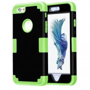 For iPhone 6 Plus & 6s Plus Separable Contrast Color PC + Silicone Combination Case(Black+Light Green)