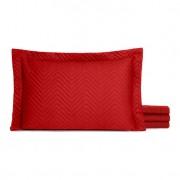 Porta Travesseiro Gold Matelado Microfibra 80 x 60 Vermelho Casaborda