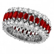 Marquise Ruby and Diamond Eternity Ring 14k White Gold (5.25 ctw)