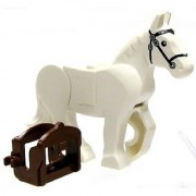 Lego White Rearing Horse With Movable Limbs And Dark Brown Saddle