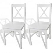 2 pcs White Wood Dinning Chair
