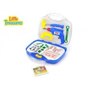 Little Treasures Play Tool Series Toy Set For Kids With 15 Piece Deluxe Tools Pretend And Play Set With Friction Operated Drill And Carry Case